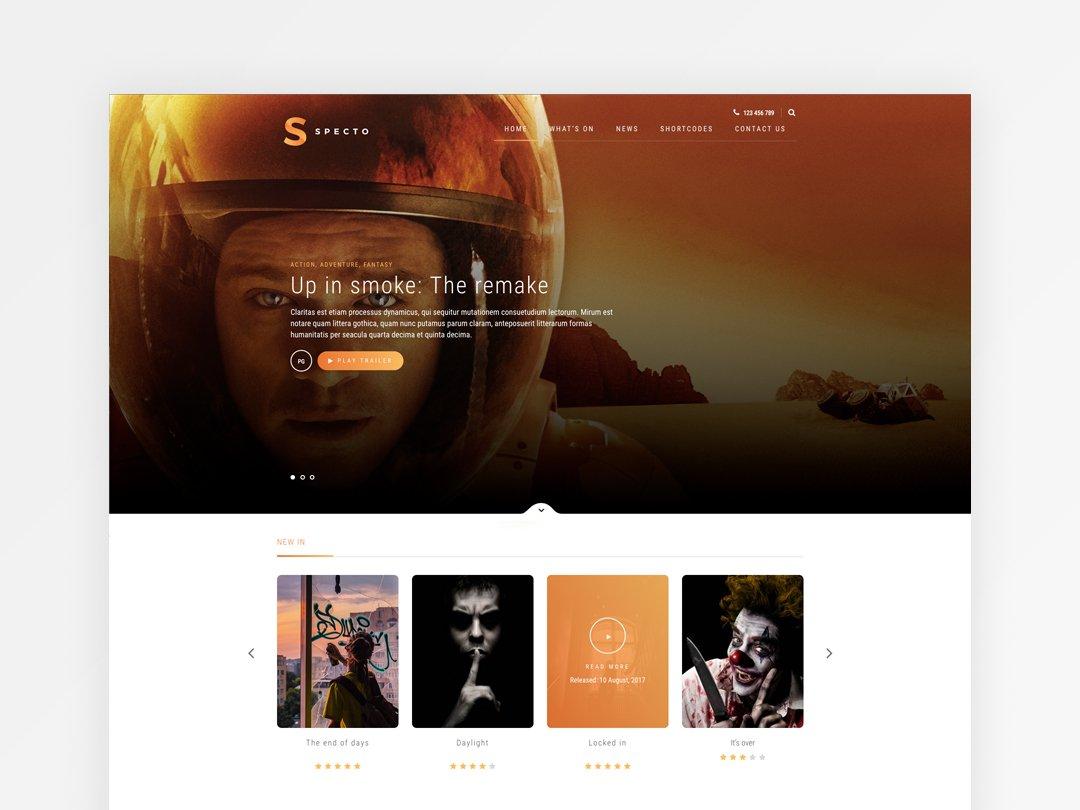 Movie Theatre Website Homepage