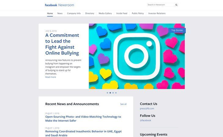Facebook Newsroom WordPress Website
