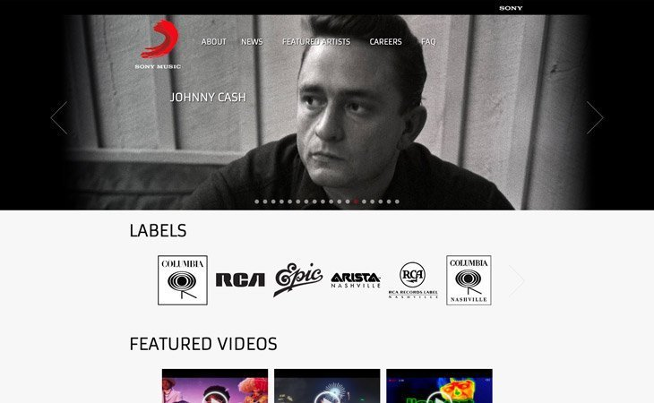 Sony Music WordPress Website
