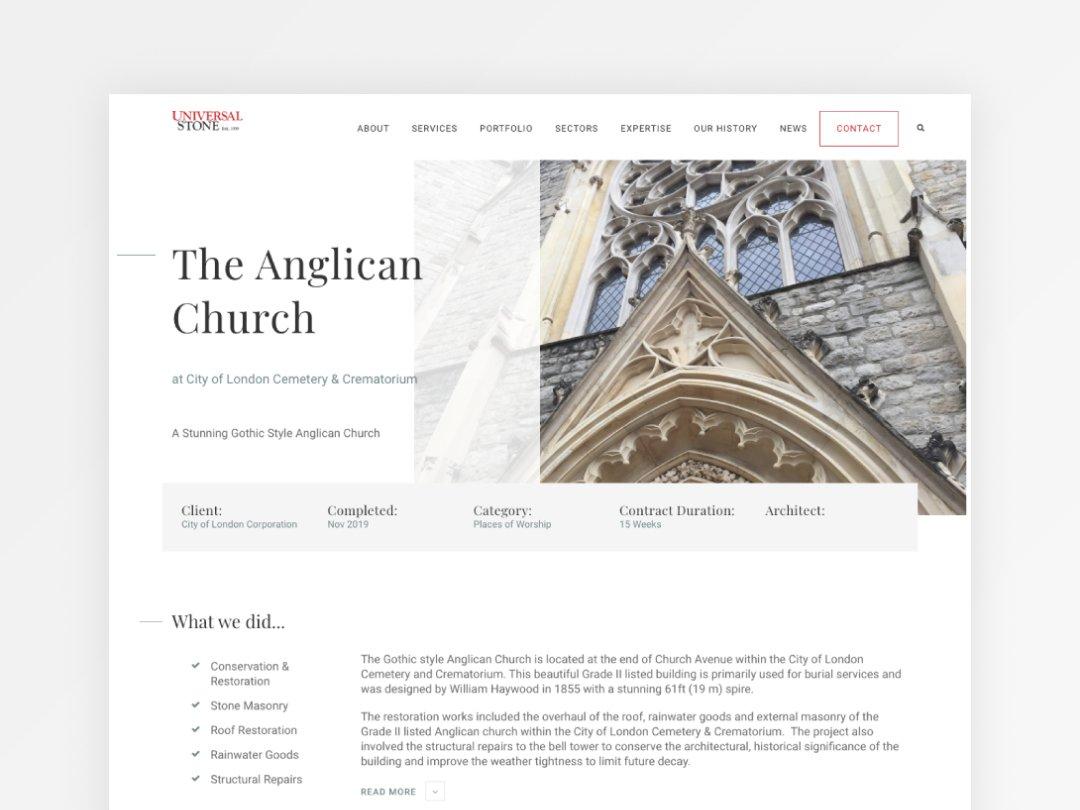 universal stone website design